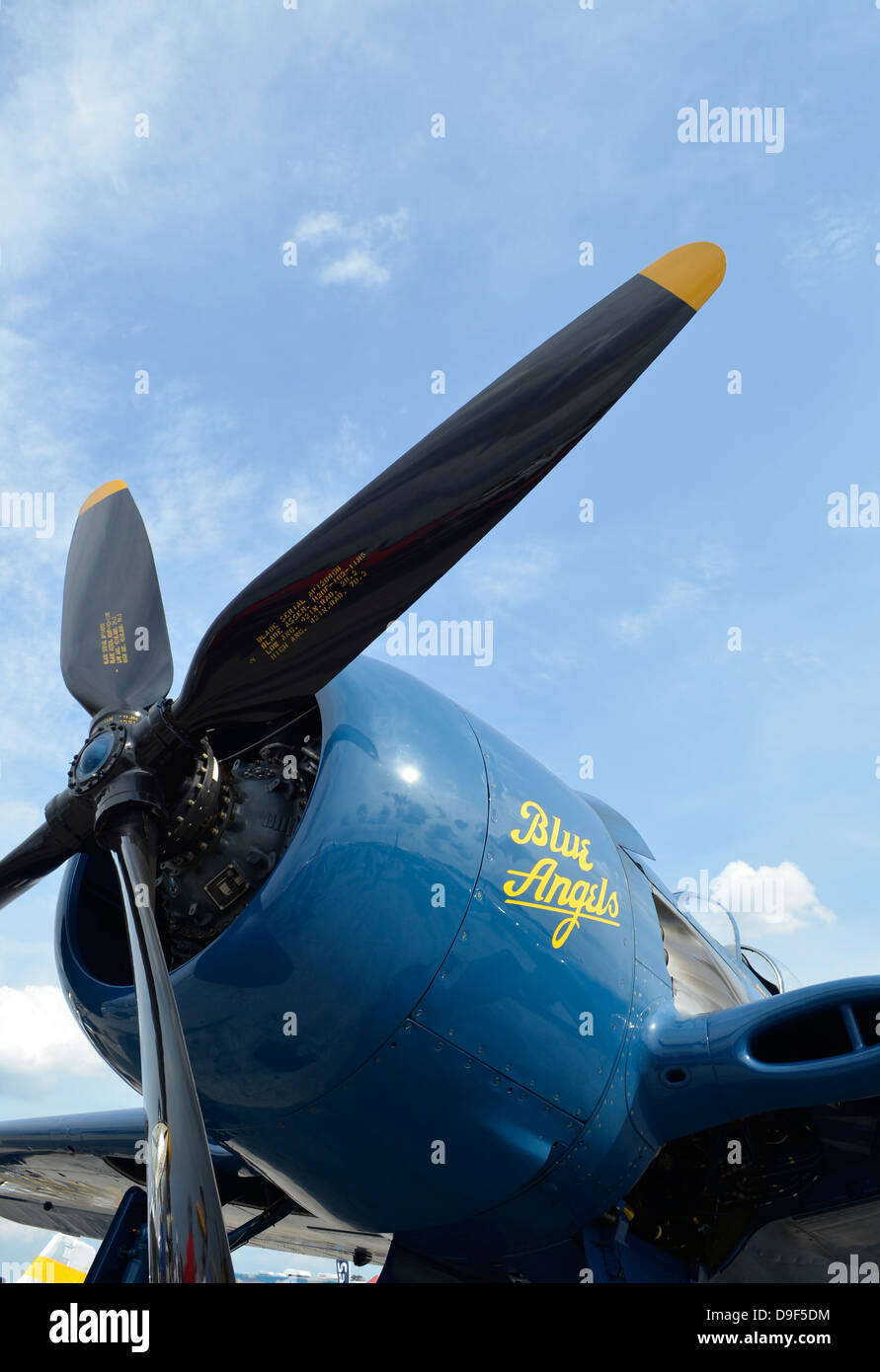 Low angle view of the propeller on a F8F Bearcat. - Stock Image