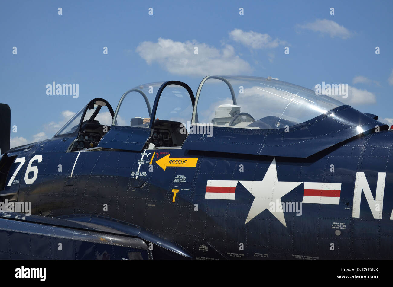 Close-up of the cockpit of a T-28 Trojan aircraft. - Stock Image