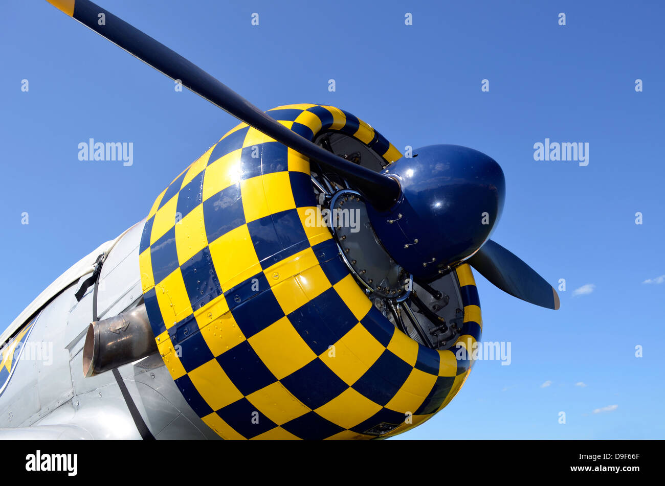 Close-up view of the propeller on an AT-6F Texan aircraft. - Stock Image