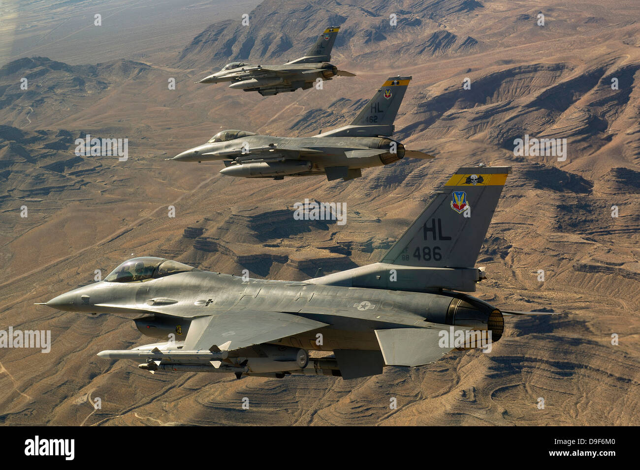 Fighter jets return from the Nevada Test and Training Range. - Stock Image