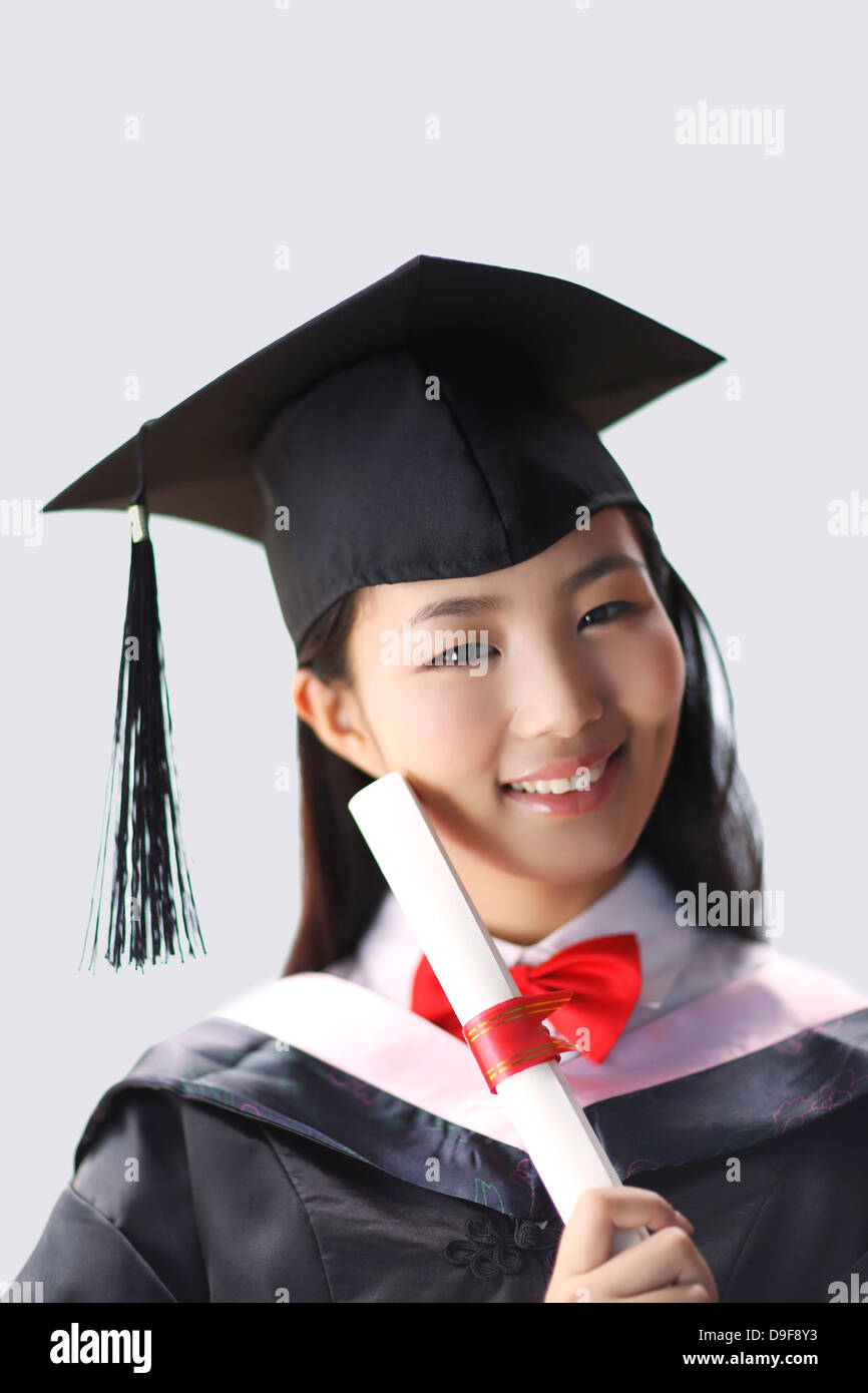 young woman in baccalaureate gown Stock Photo: 57499319 - Alamy