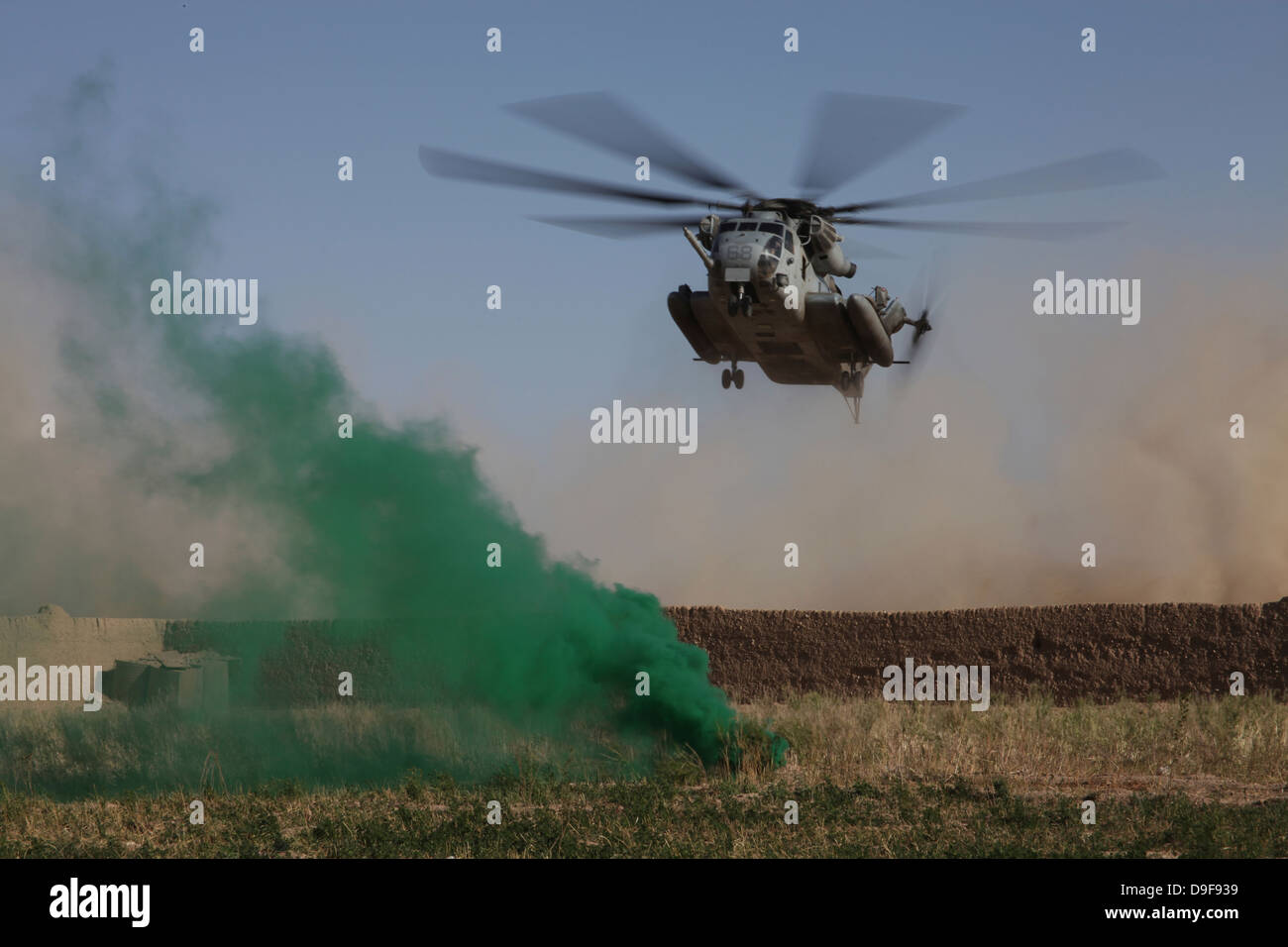 A CH-53 Super Stallion helicopter prepares to land in Afghanistan. - Stock Image