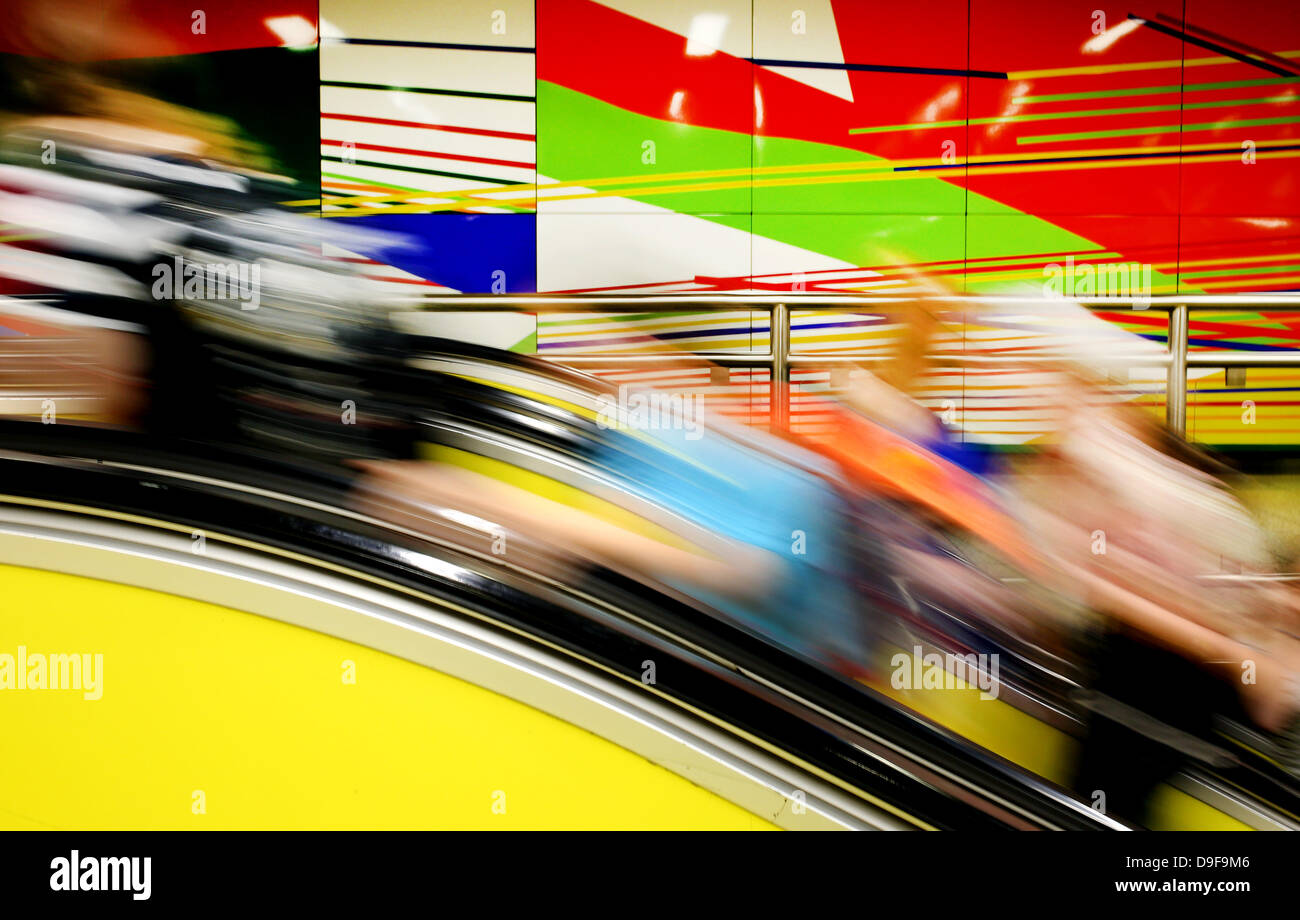 Duisburg, Germany. 19th June, 2013. The entrance of a subway station is adorned by Gerhard Richter's vitreous - Stock Image