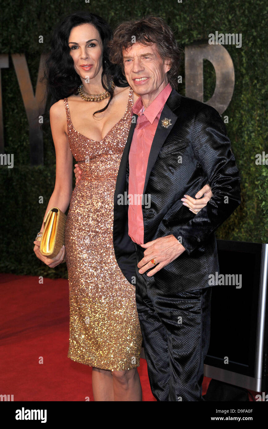 L'Wren Scott  and Mick Jagger 2011 Vanity Fair Oscar Party at Sunset Tower Hotel - Arrivals  West Hollywood, California Stock Photo