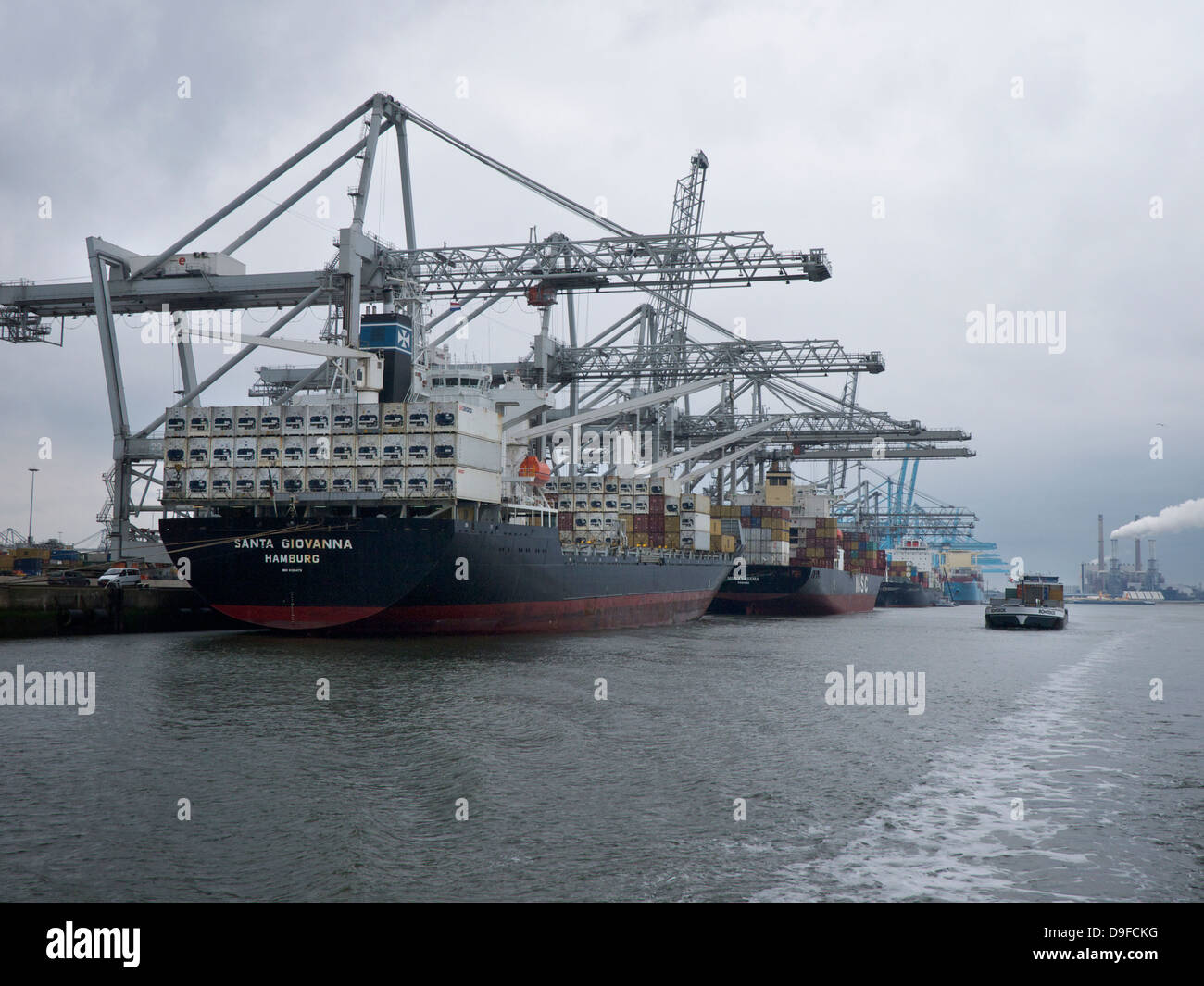 The new container terminals on the Maasvlakte 2, the expansion area of the port of Rotterdam, the Netherlands - Stock Image