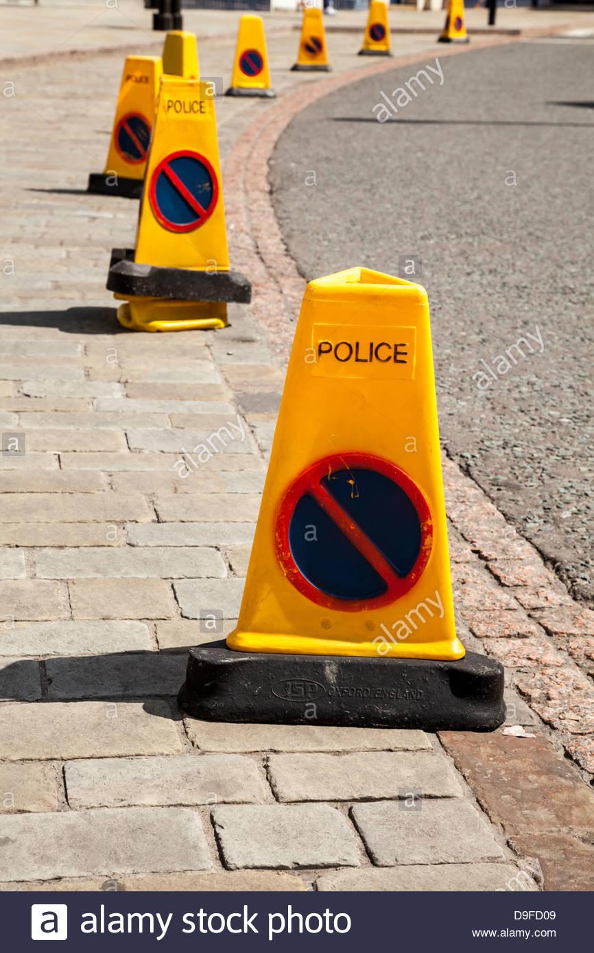 Police Traffic Cones - Stock Image