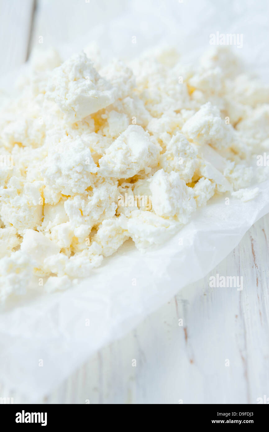 Fresh cottage cheese on the table, food close up - Stock Image