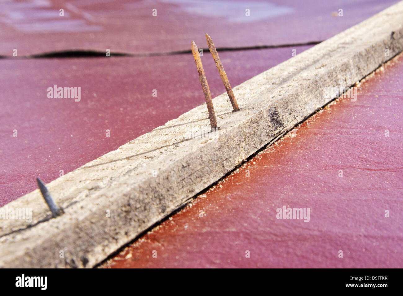 Rostige Naegel in einer Holzlatte |Rusty nails into a wooden crossbar| - Stock Image