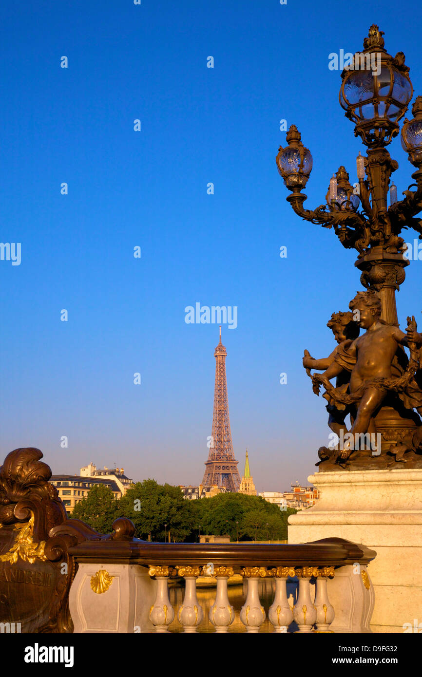 Pont Alexandre III, with Eiffel Tower, Paris, France - Stock Image