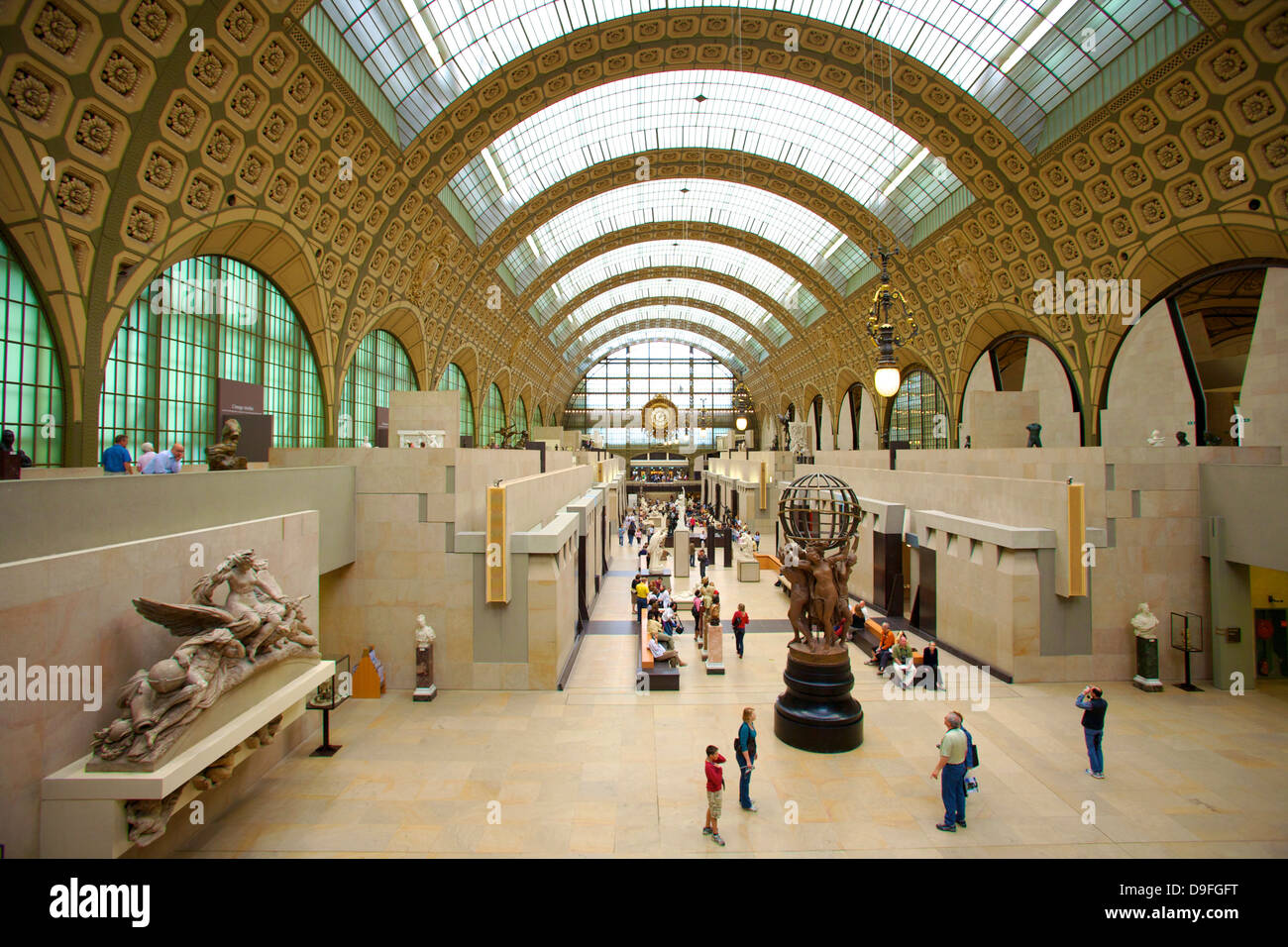 Elevated view of the interior of the Musee d'Orsay, Paris, France - Stock Image