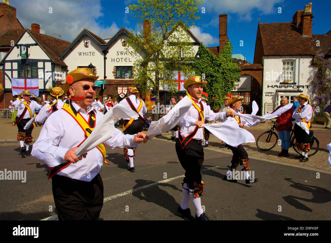 Morris dancing, Stratford upon Avon, Warwickshire, England, UK - Stock Image