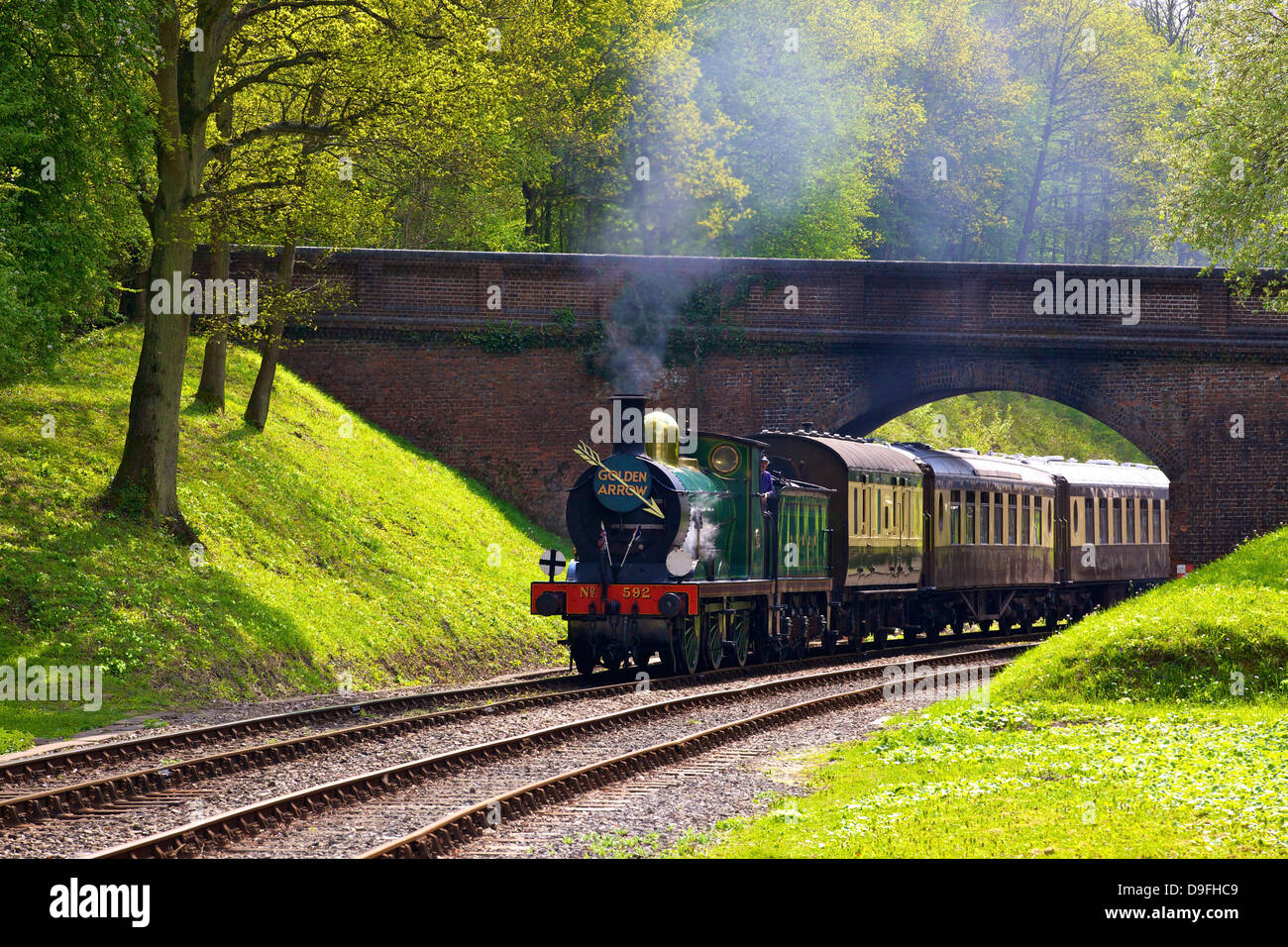 Steam train on Bluebell Railway, Horsted Keynes, West Sussex, England, UK - Stock Image