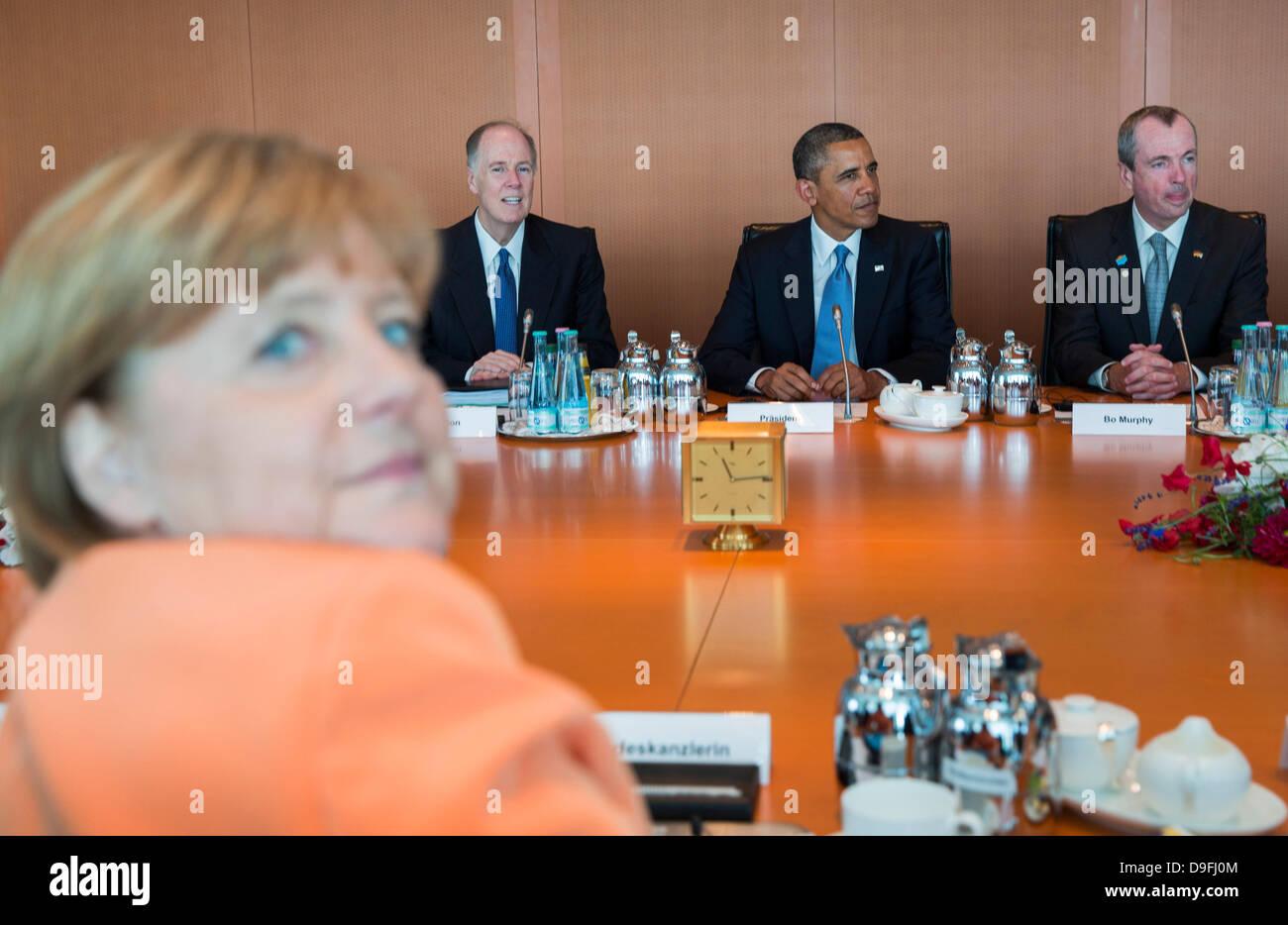 From left, German Chancellor Angela Merkel, National Security Advisor Thomas Donilon, US President Barack Obama - Stock Image