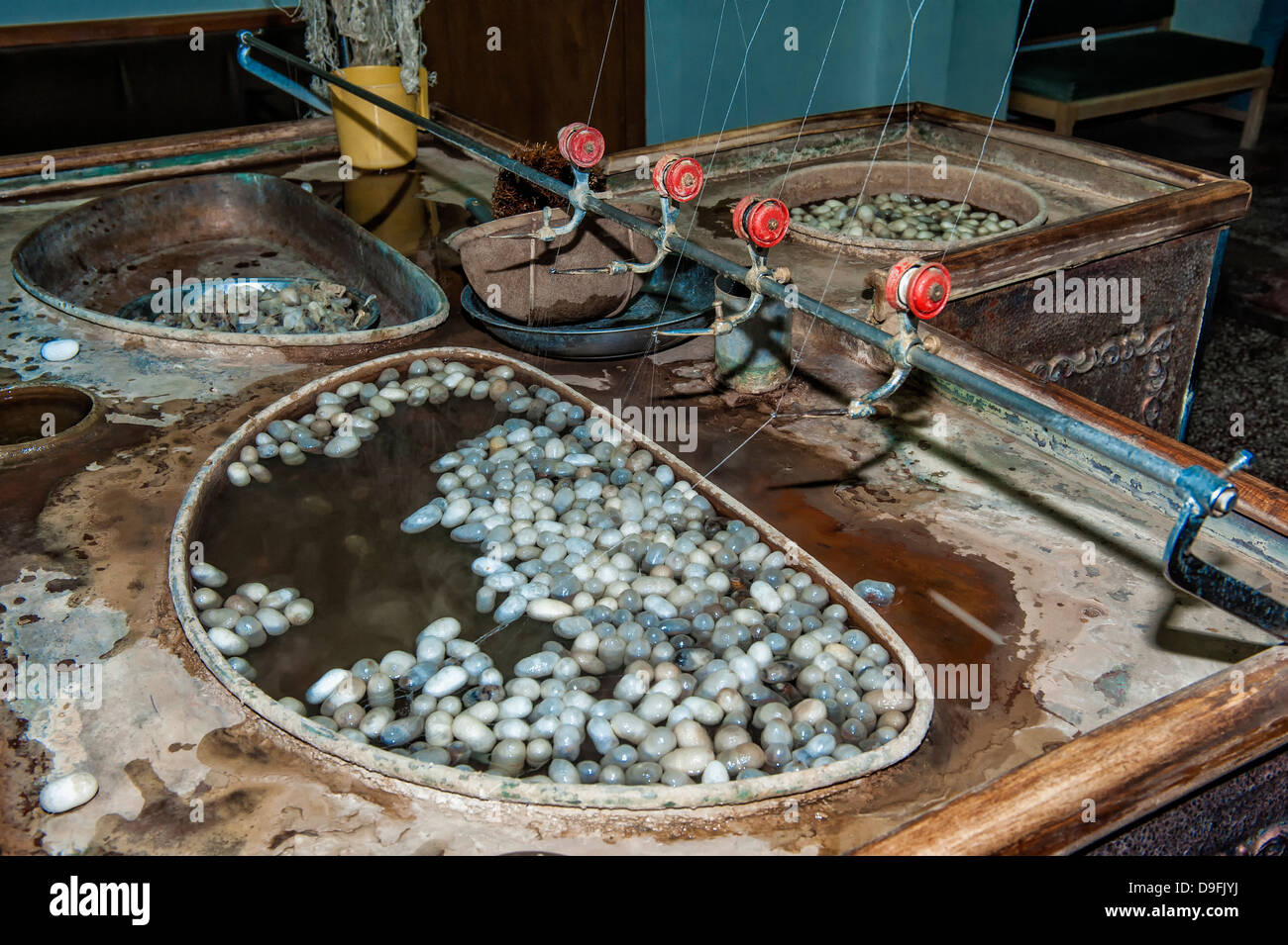 Extraction of silk filaments from cocoons in an alkaline bath, Cappadocia, Anatolia, Turkey Minor, Eurasia - Stock Image