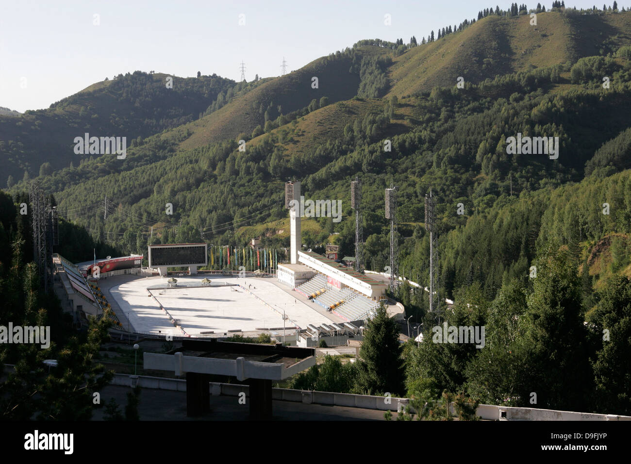 Medeu ice rink near Almaty (built in 1972, is made for speed skating and many champion skaters have trained here), Stock Photo