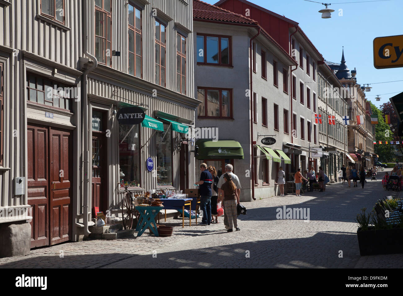 Old merchant houses in Gamla Haga district, Gothenburg, Sweden, Scandinavia - Stock Image
