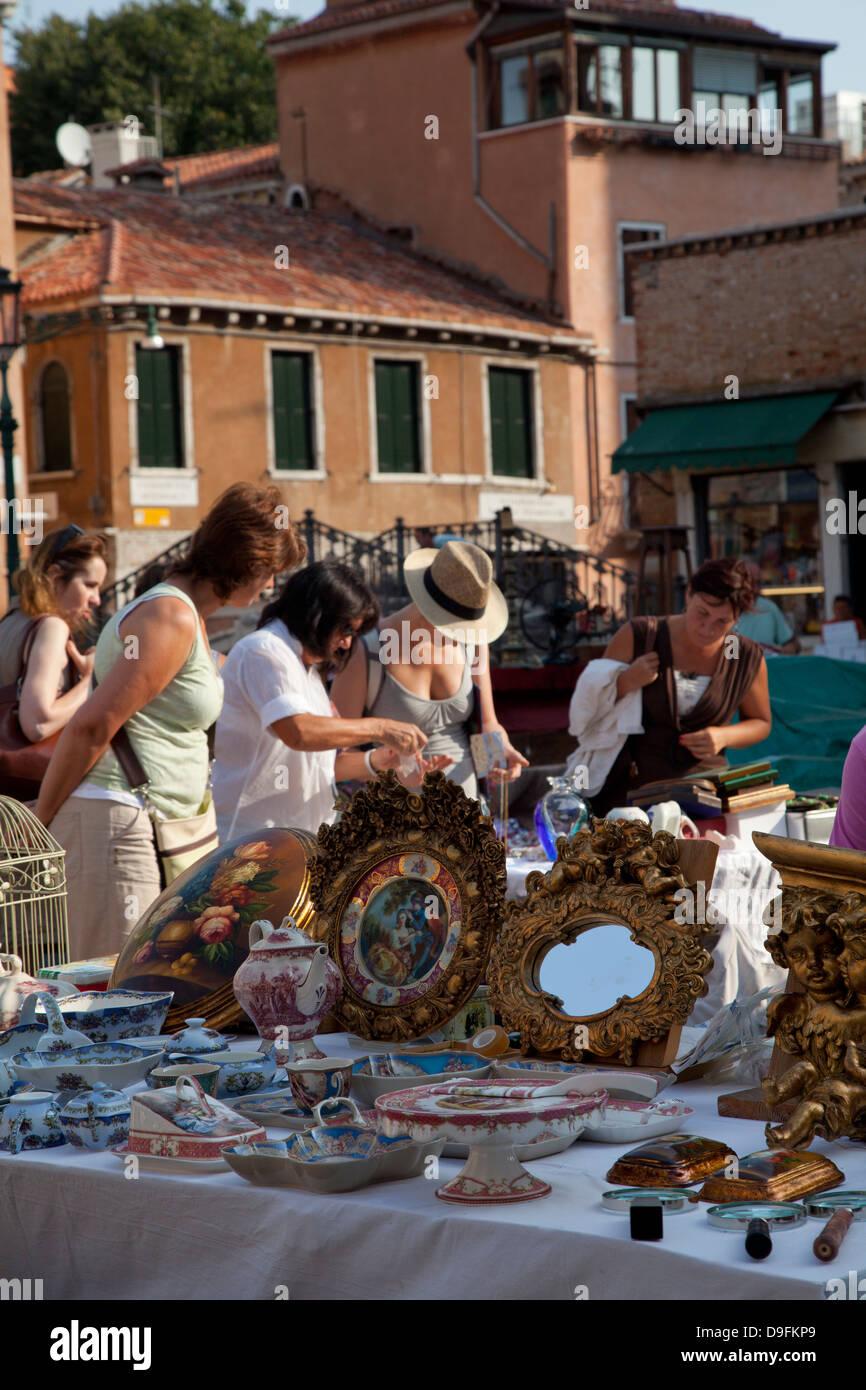 Flea market in Campo San Barnaba, Venice, Veneto, Italy - Stock Image