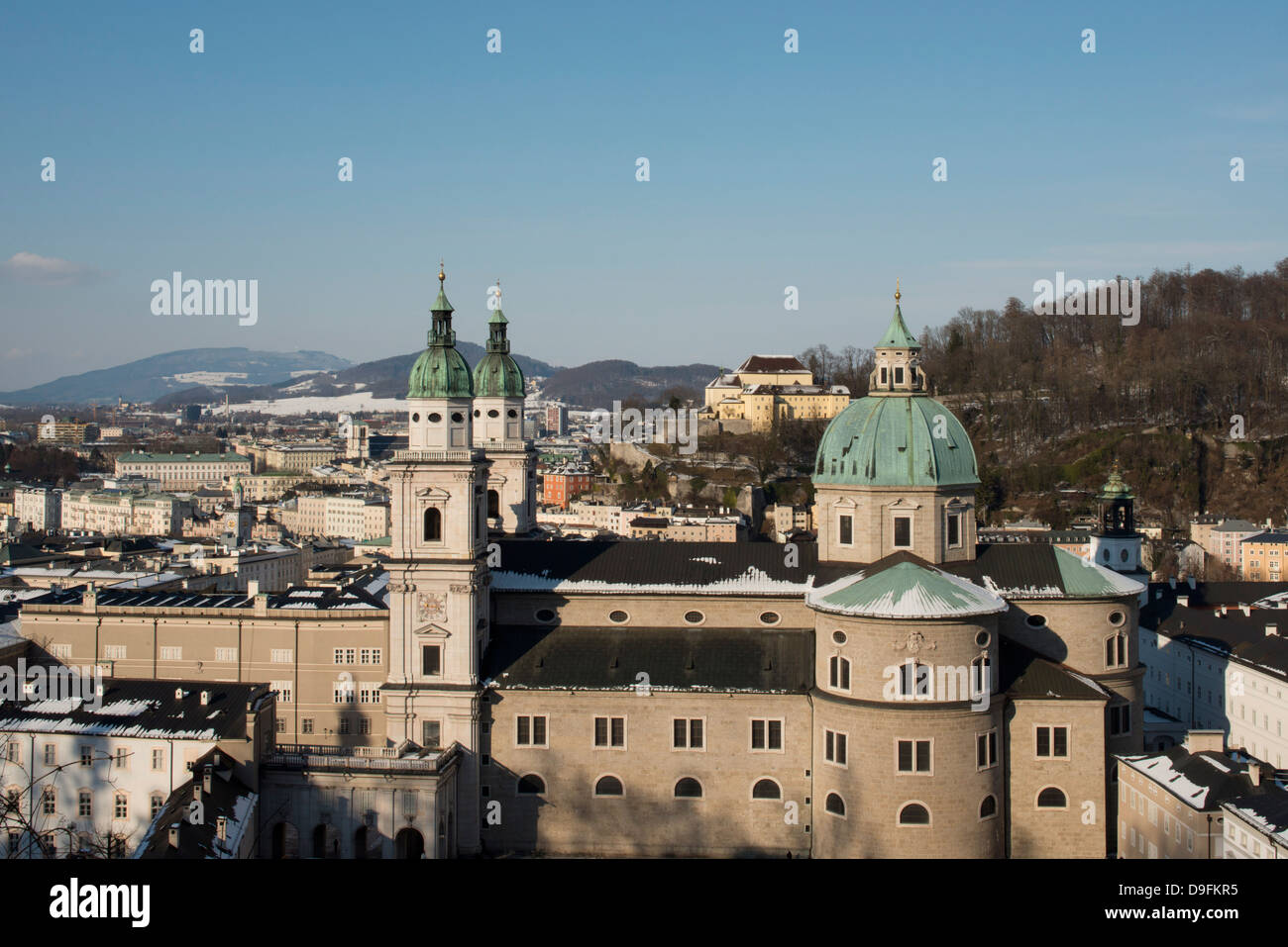 A view of the domes of the Salzburg Cathedral in the Altstadt, Salzburg, Austria - Stock Image
