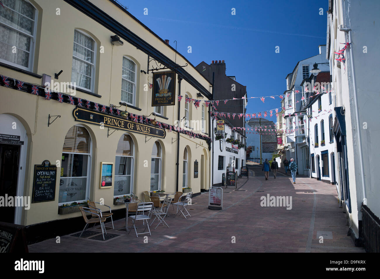 Street in the town centre, Ilfracombe, Devon, England, UK - Stock Image