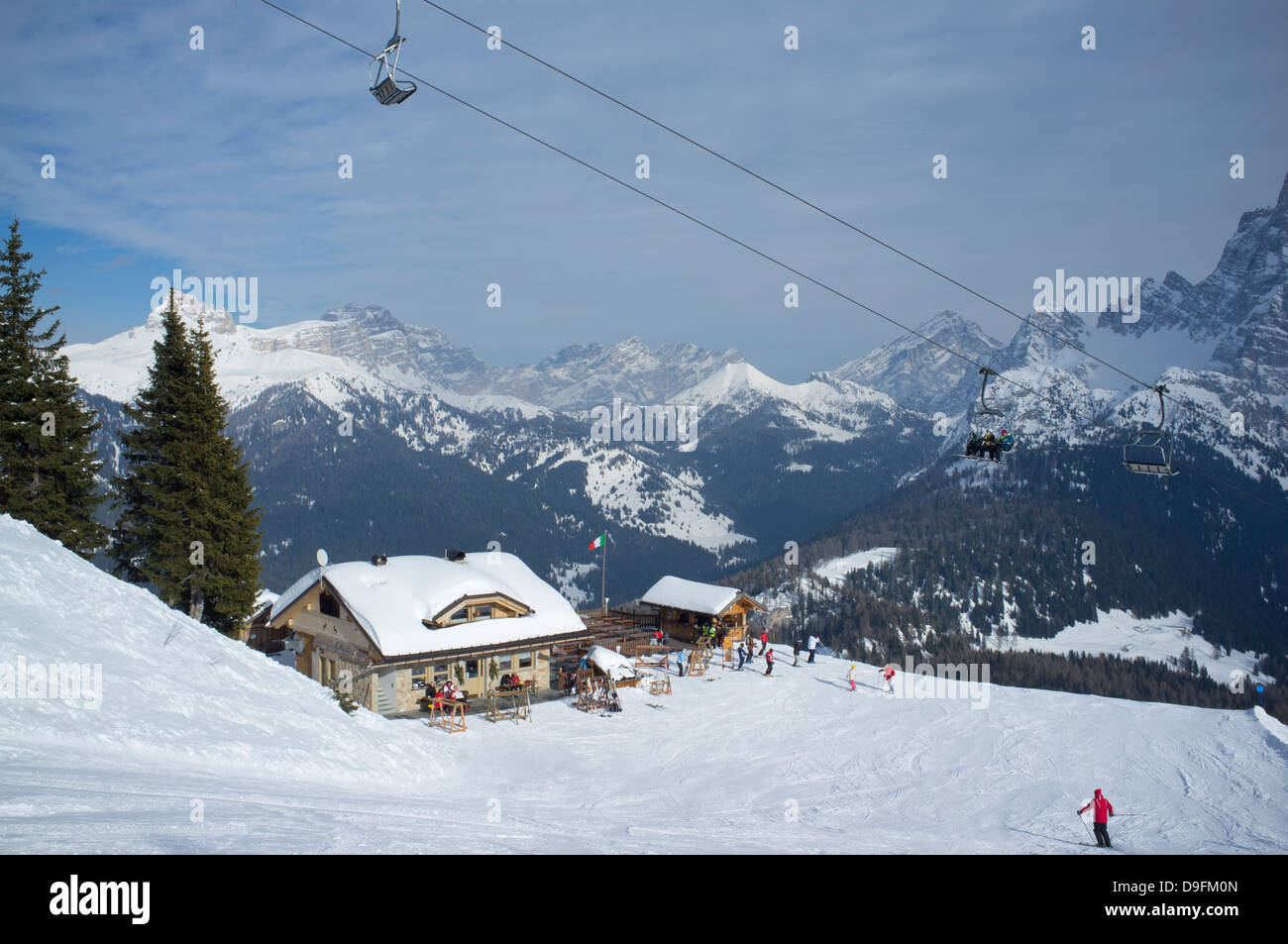 A mountain restaurant at the Civetta ski resort in the Dolomites, South Tyrol, Italy Stock Photo