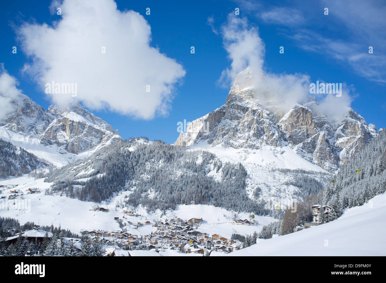 A view toward Corvara and Sassongher Mountain from the ski resort of Alta Badia in the Dolomites in the South Tyrol, Stock Photo