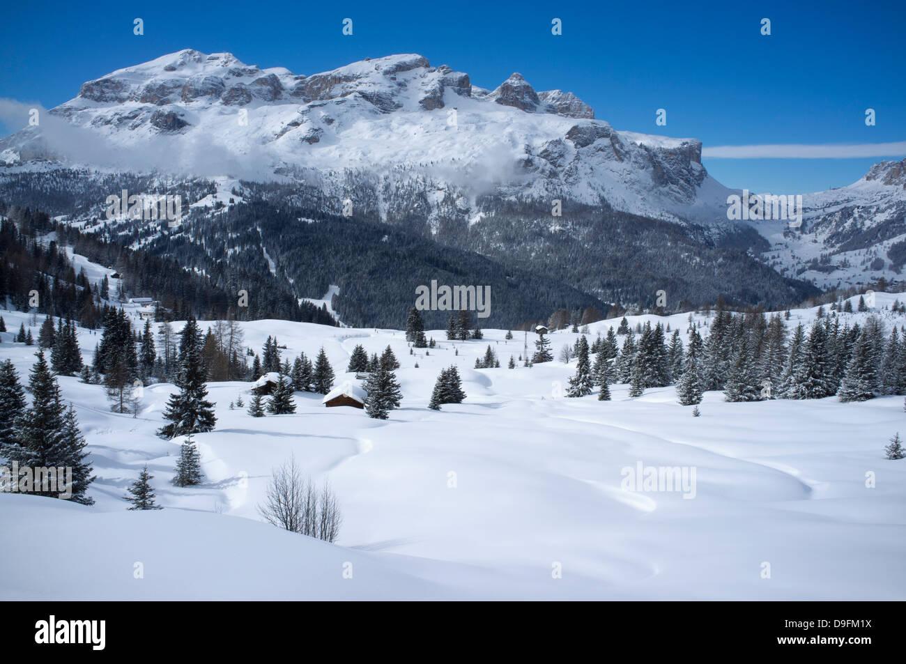 The Lavarella and Coutrine Mountains and fresh snow at the Alta Badia ski resort near Corvara, Dolomites, South Stock Photo