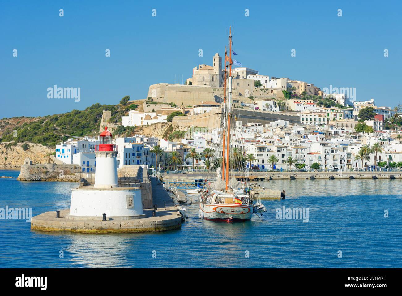 Ibiza old town and harbor, Ibiza, Balearic Islands, Spain, Mediterranean - Stock Image