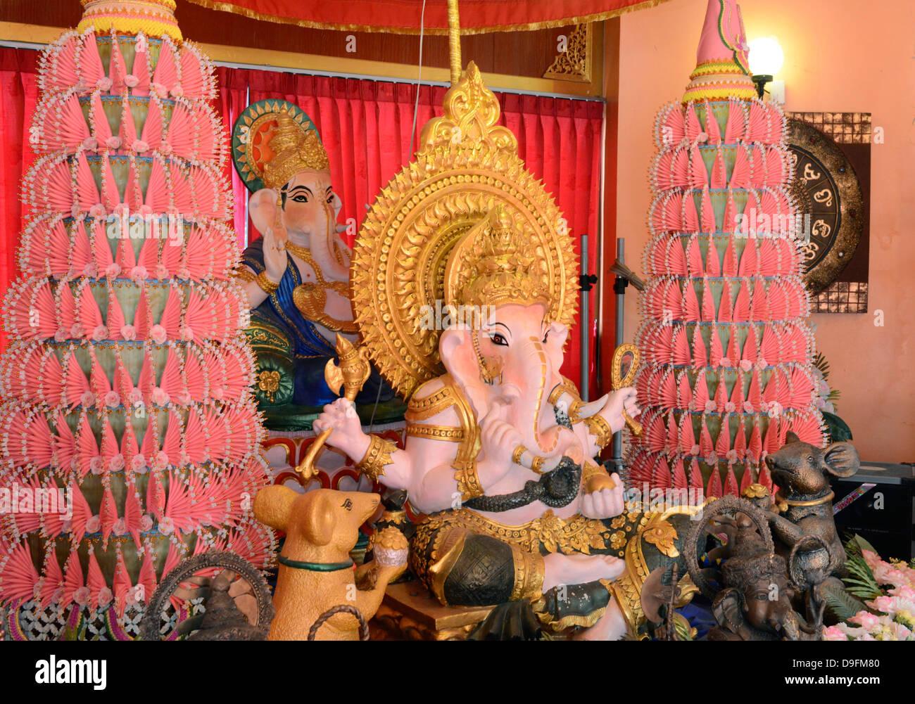 Ganesh altar, Wat Doi Wao, Mae Sai, Thailand, Southeast Asia - Stock Image