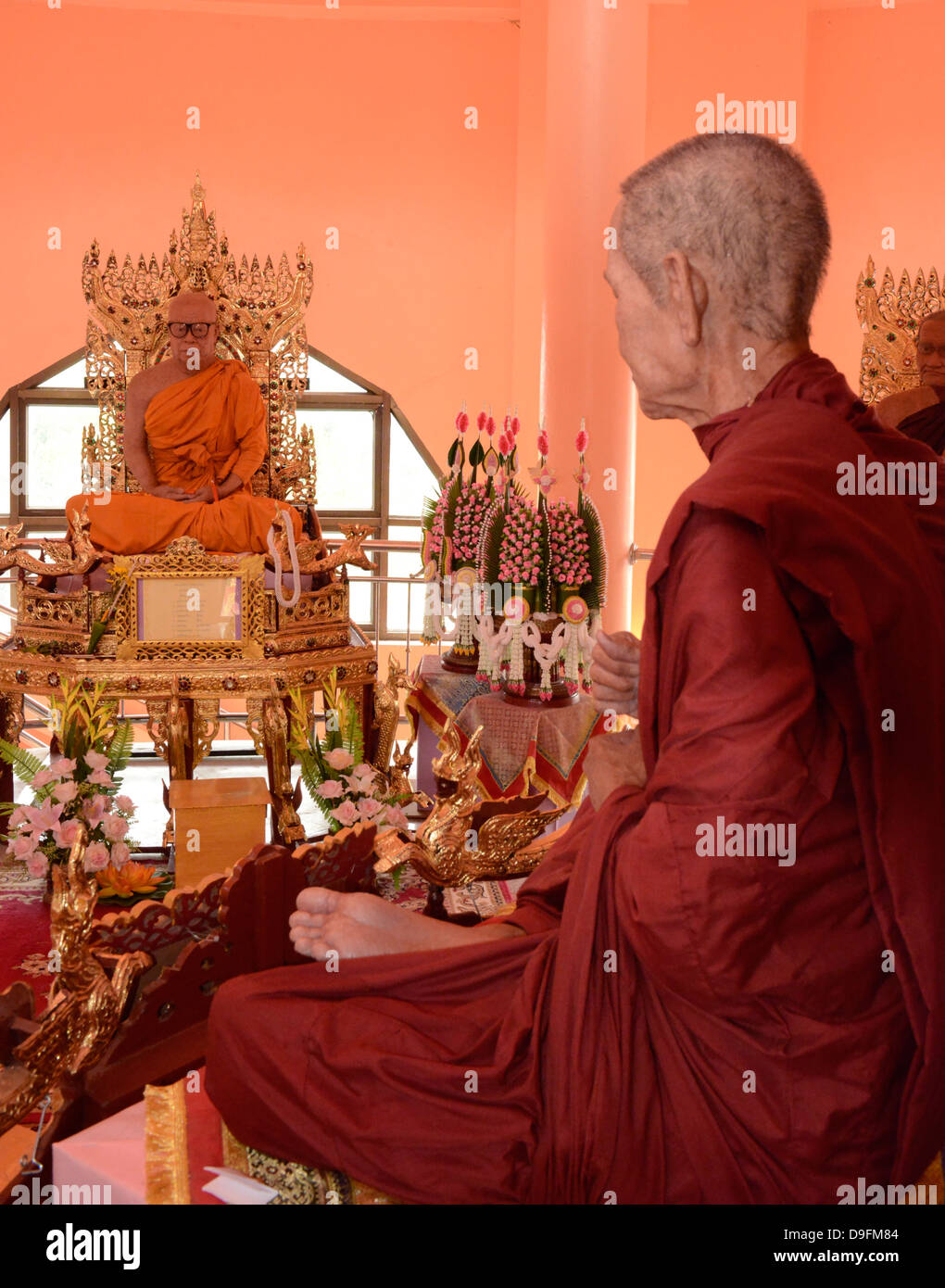 Wax monks at Wat Doi Waom, Mae Sai, Thailand, Southeast Asia - Stock Image