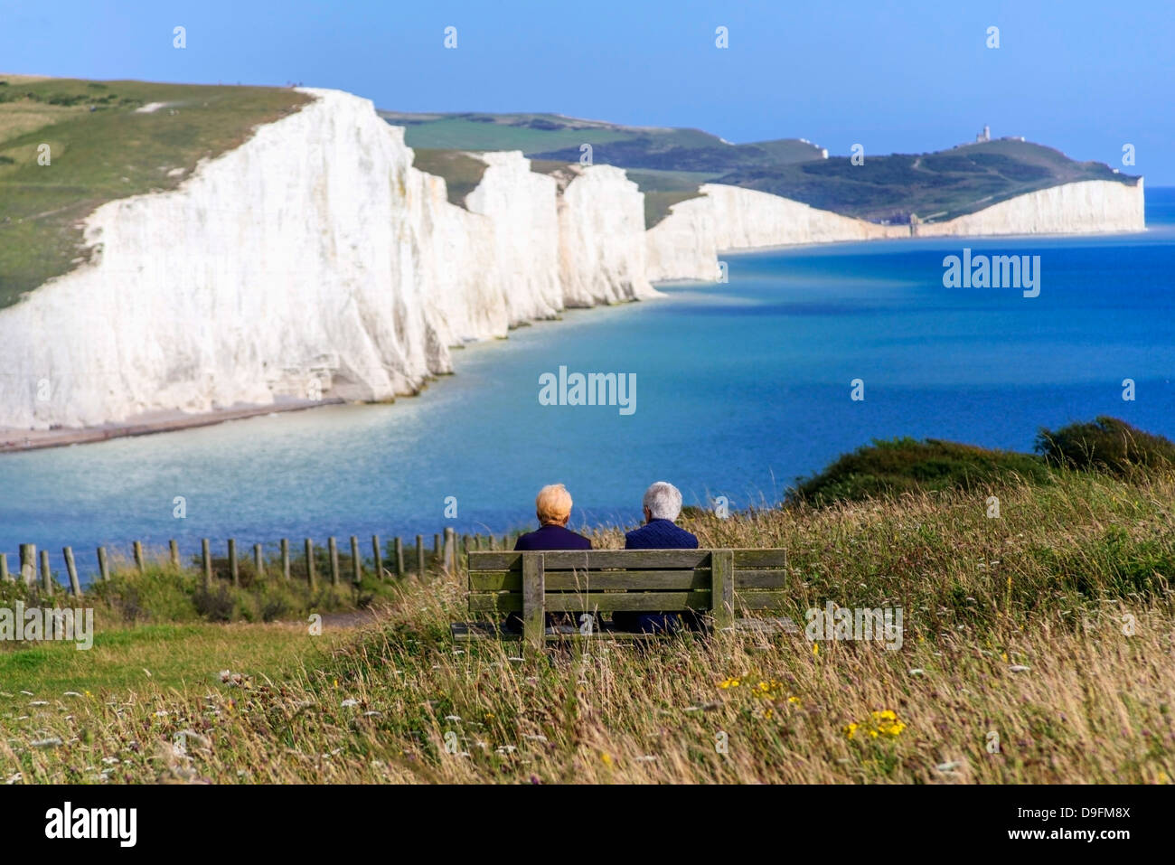The chalk cliffs of the Seven Sisters from the South Downs Way, South Downs National Park, East Sussex, England, - Stock Image