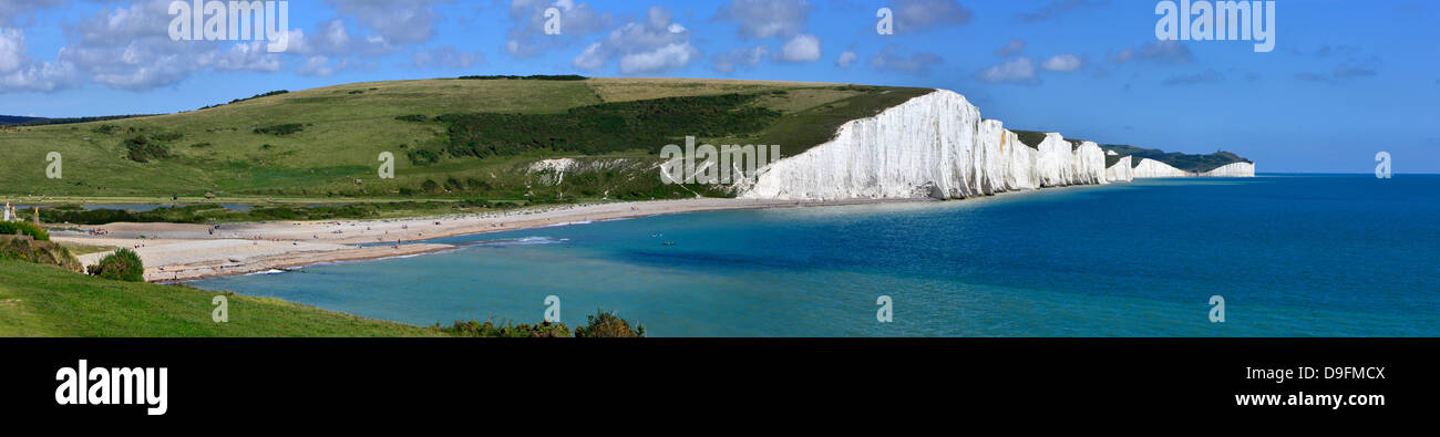 Cuckmere Haven and the Seven Sisters chalk cliffs, from the South Downs Way, East Sussex, England, UK Stock Photo