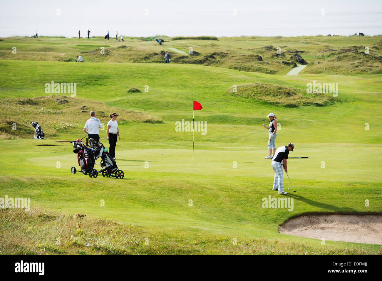 Golf course, Heimaey Island, volcanic Westman Islands, Vestmannaeyjar, Iceland, Polar Regions - Stock Image