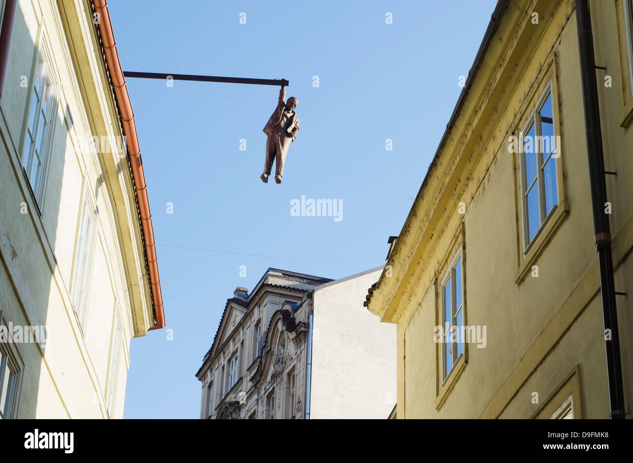 Hanging man above the street by David Cerny, Prague, Czech Republic - Stock Image