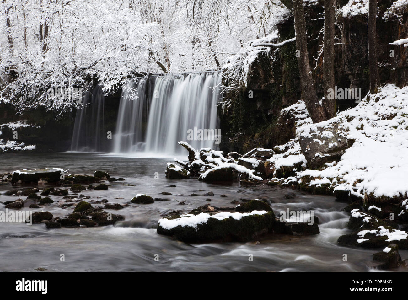 Sqwd dSnow, Sgwd Ddwli Waterfall, Brecon Beacons, Wales, UK - Stock Image