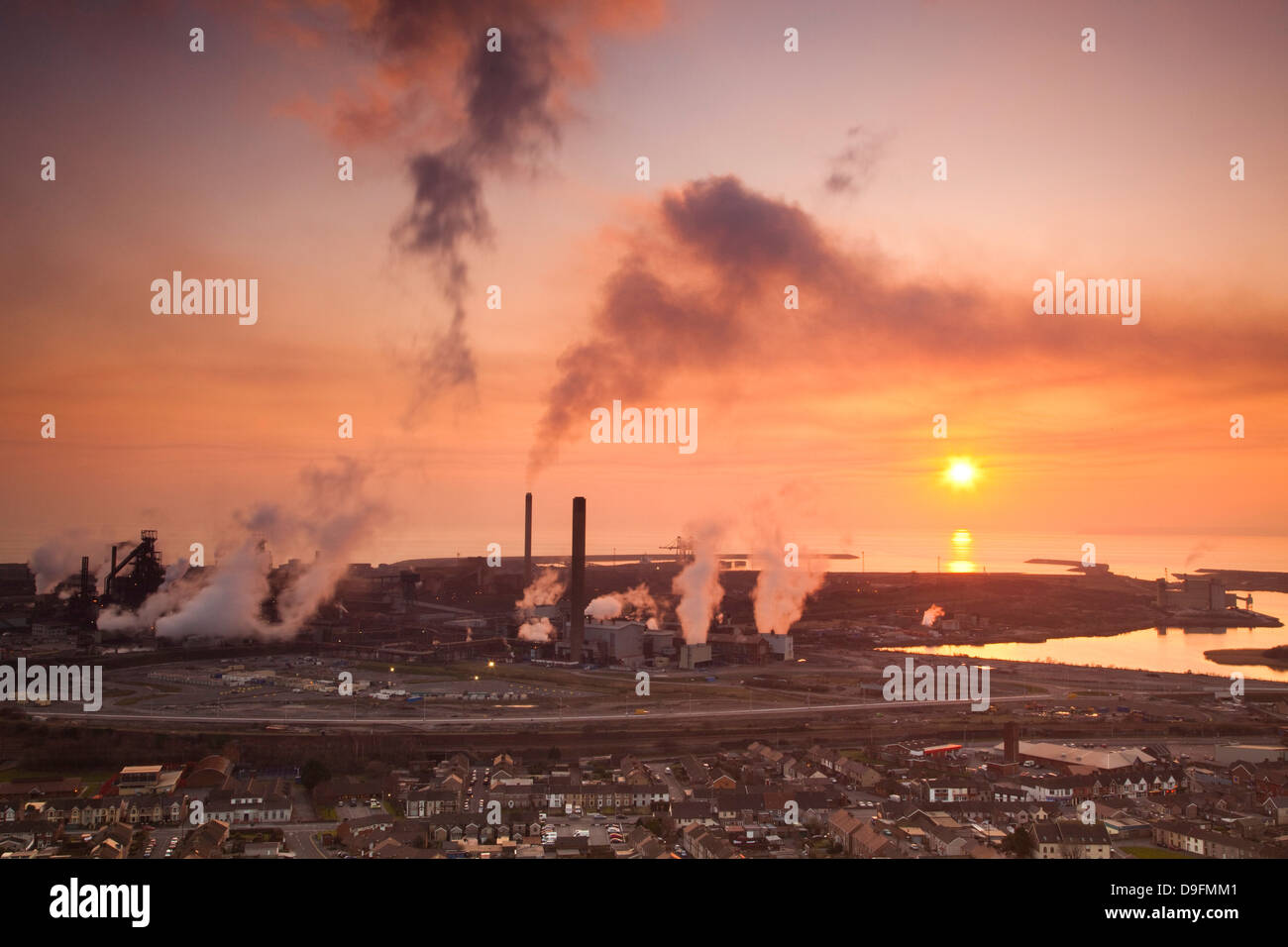 Blast furnaces, Corus Steelworks, Port Talbot, Glamorgan, Wales, UK - Stock Image