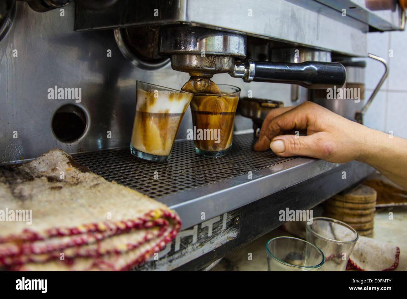 Espresso machine in a cafe in Tunis, Tunisia Stock Photo