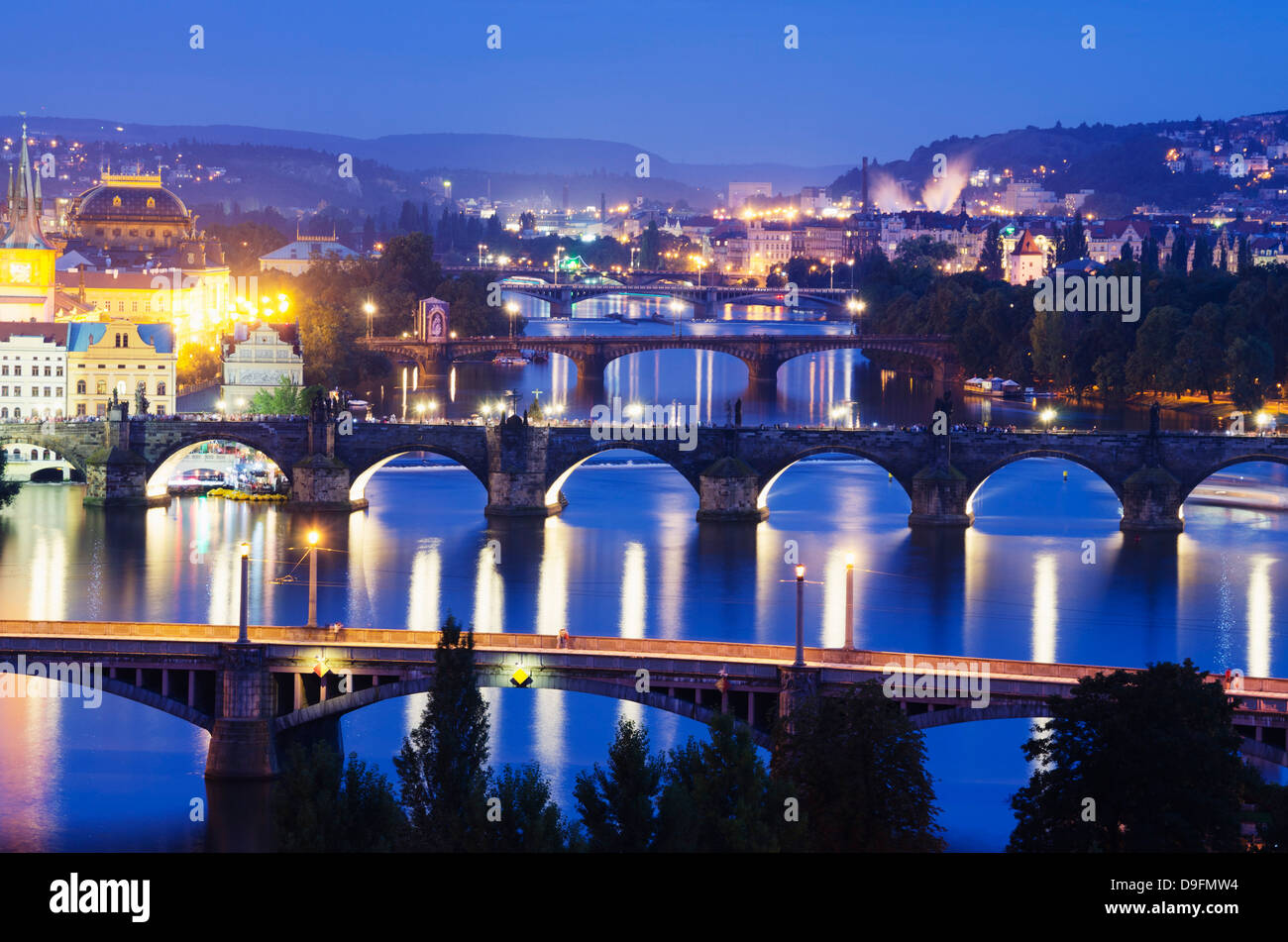Bridges on the Vltava River, UNESCO World Heritage Site, Prague, Czech Republic - Stock Image