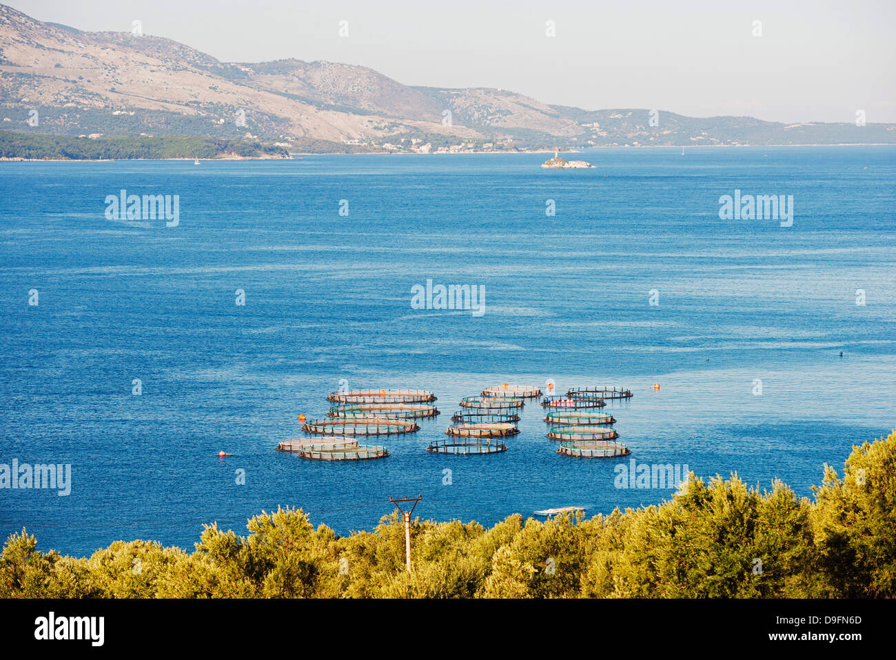 Fishing nets, Butrint, Albania, Mediterranean - Stock Image