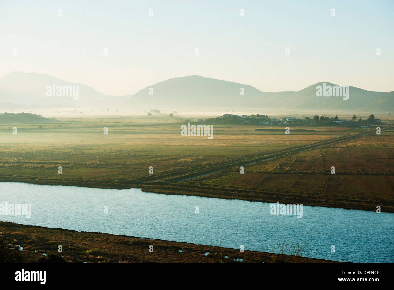 Morning mist, Butrint, Albania - Stock Image