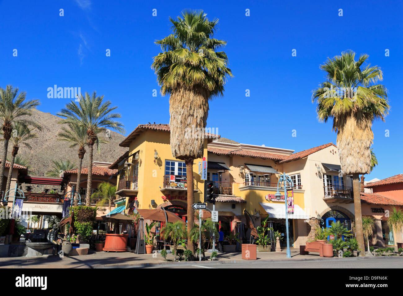 Mercado Plaza on Palm Canyon Drive, Palm Springs, California, USA - Stock Image