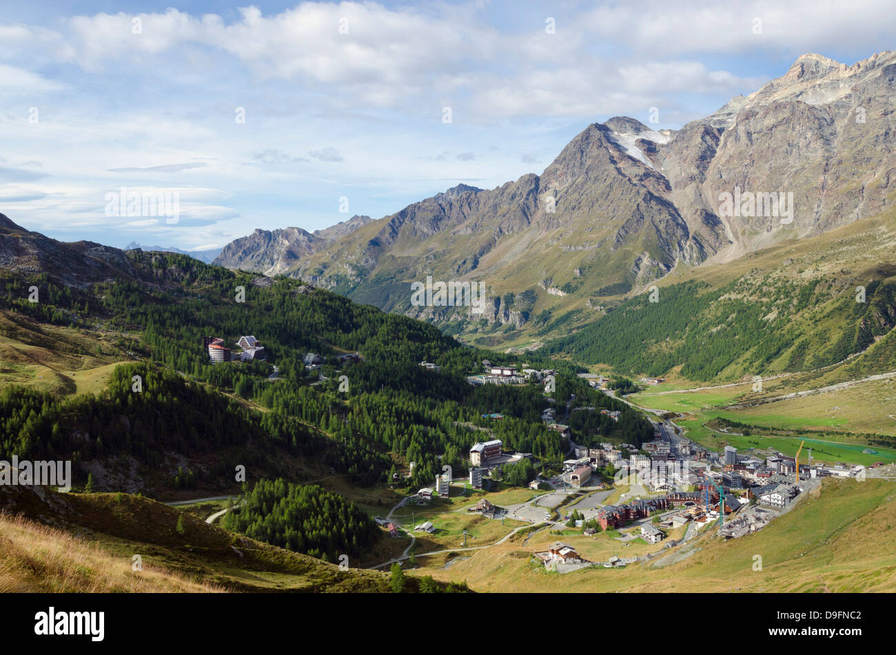 Breuil Cervinia resort town, Aosta Valley, Italian Alps, Italy - Stock Image