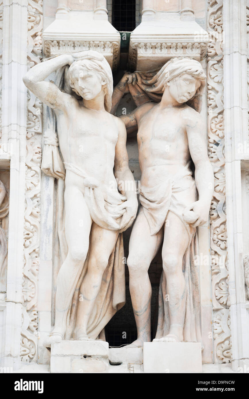 Gothic sculptures, Duomo (Milan Cathedral), Milan, Lombardy, Italy - Stock Image
