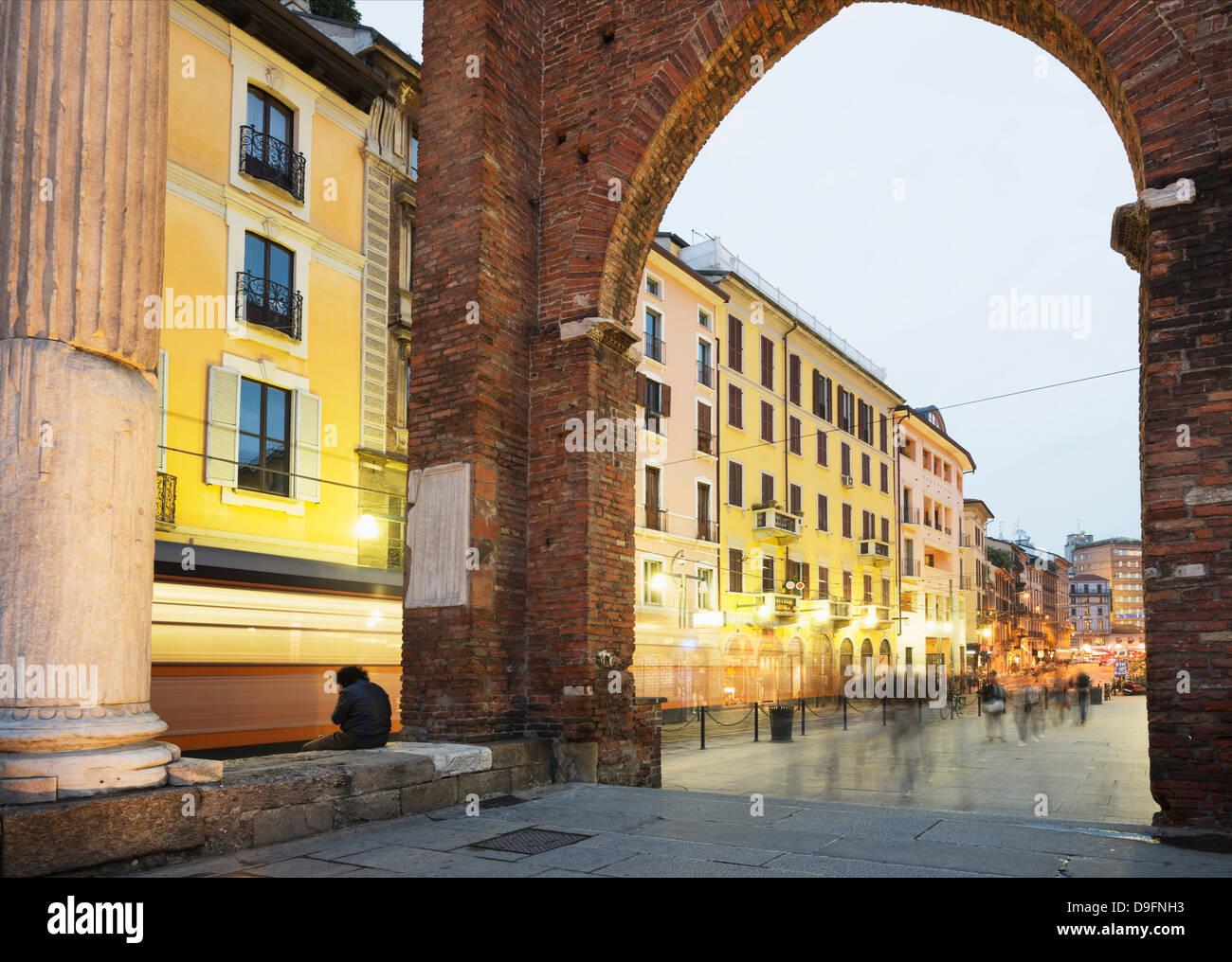 Piazza San Lorenzo, Milan, Lombardy, Italy Stock Photo