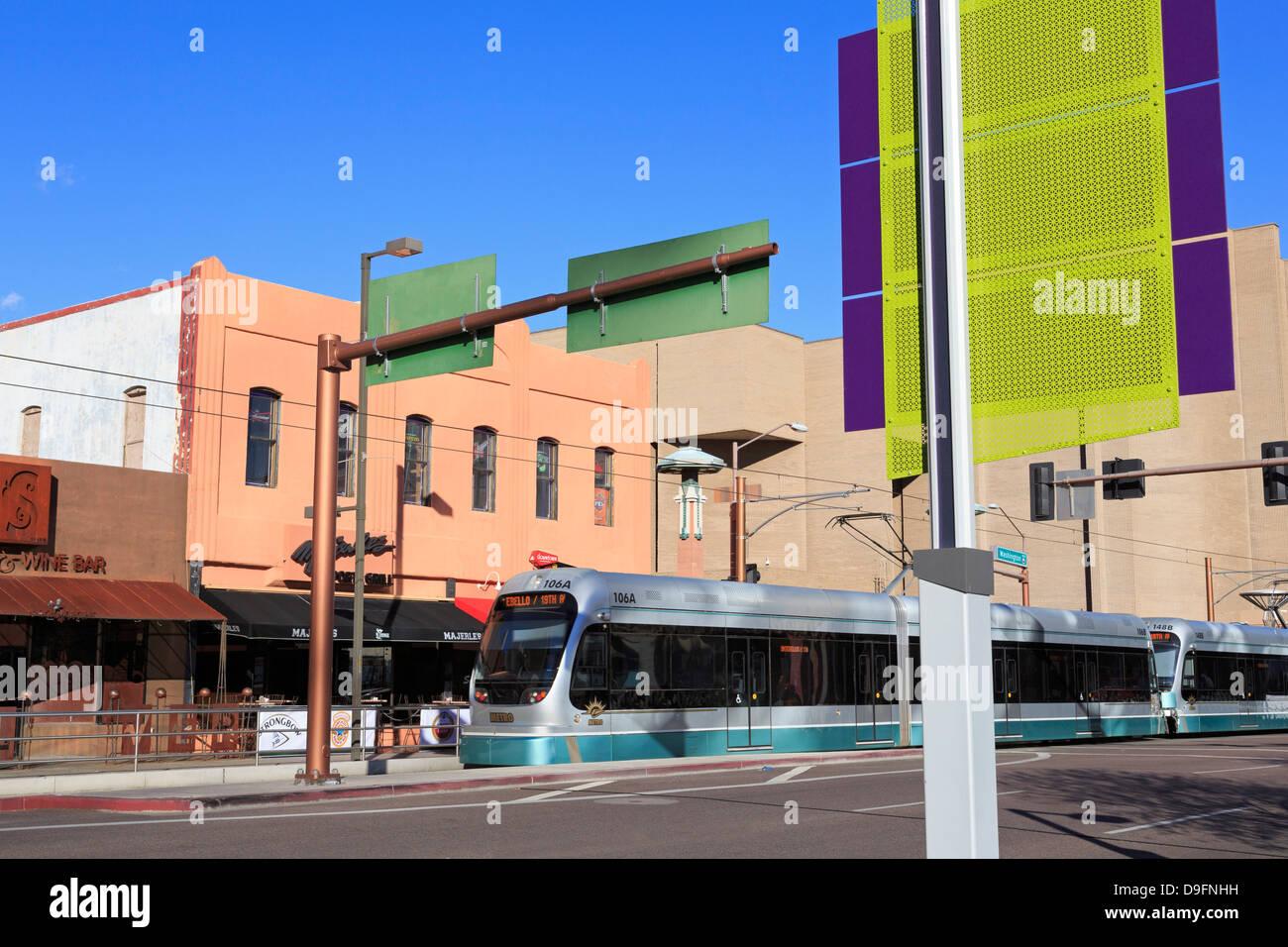 Metro Light Rail on Washington Avenue, Phoenix, Arizona, USA - Stock Image