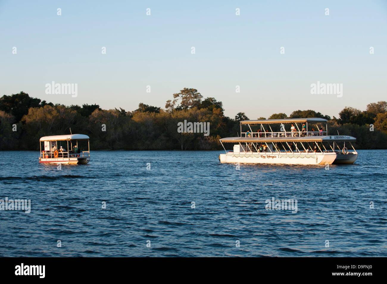 Tourist boat, Chobe River, Chobe National Park, Botswana, Africa - Stock Image