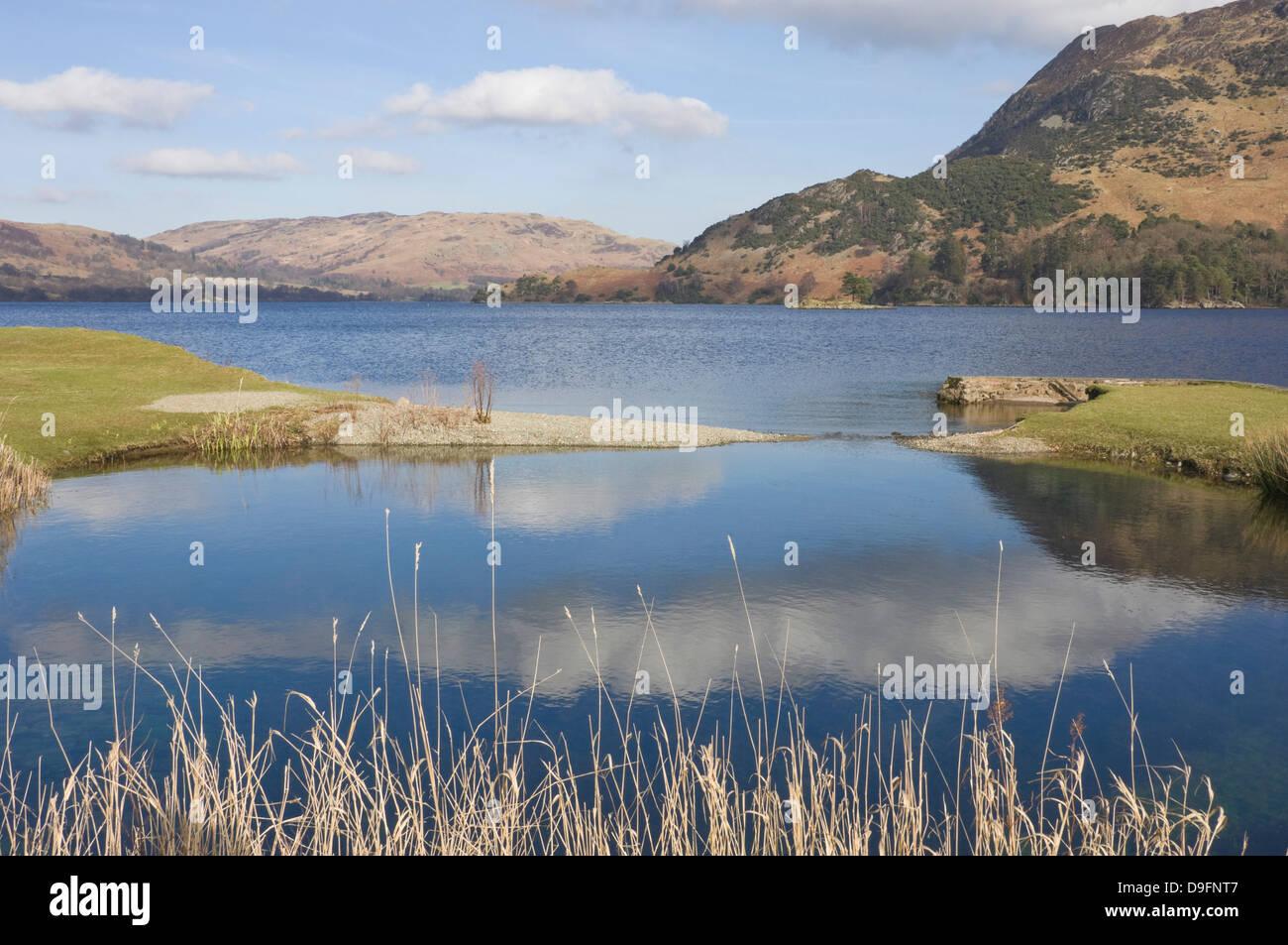 Lake Ullswater from Patterdale, Lake District National Park, Cumbria, England, UK - Stock Image