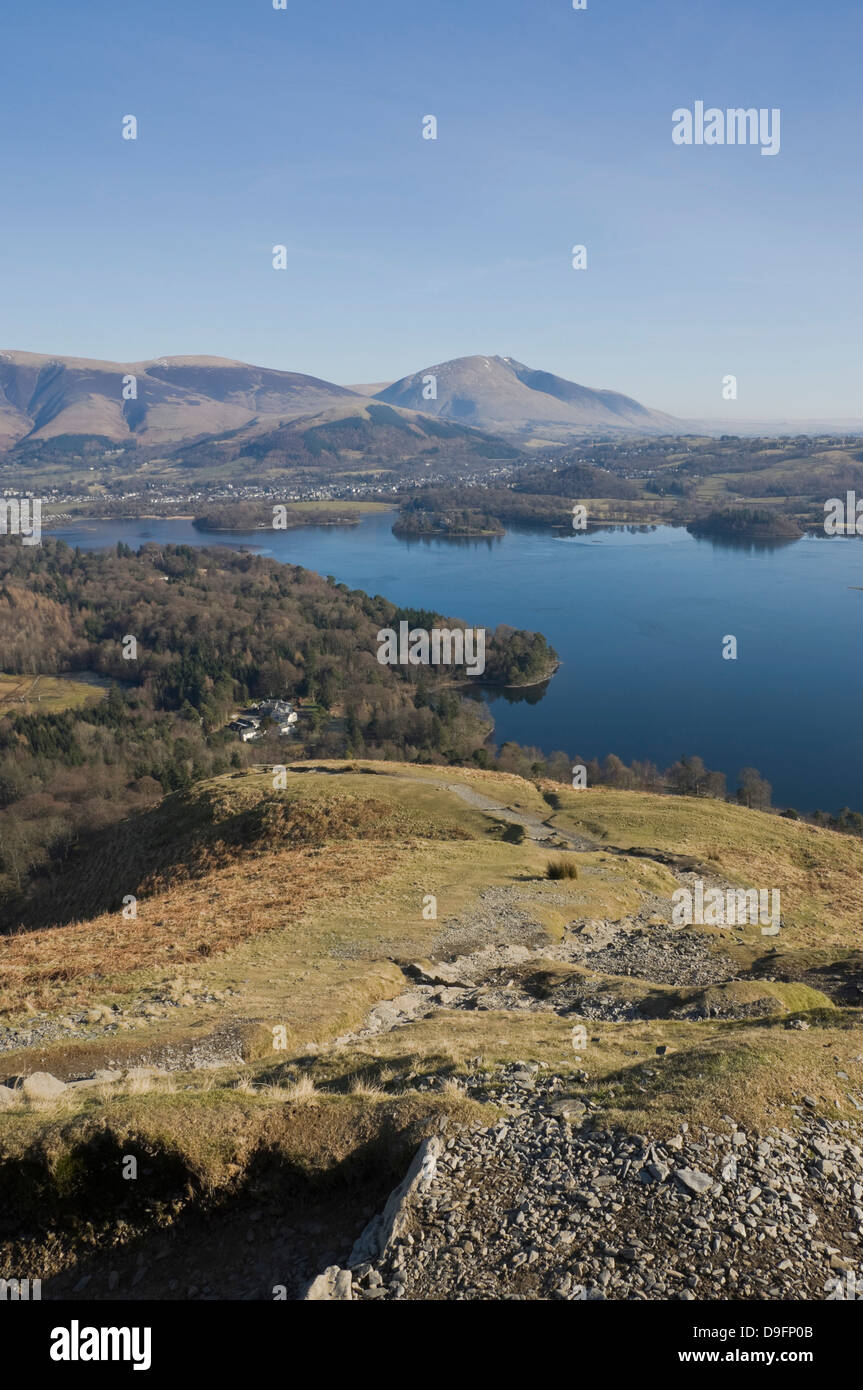 Derwent Water, Keswick, to Saddleback Fell from the Catbells Fell path, Lake District National Park, Cumbria, England, - Stock Image