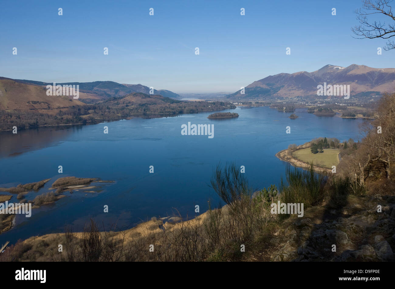 Derwent Water, Keswick, and Skiddaw Fell, from Surprise View, Lake District National Park, Cumbria, England, UK - Stock Image