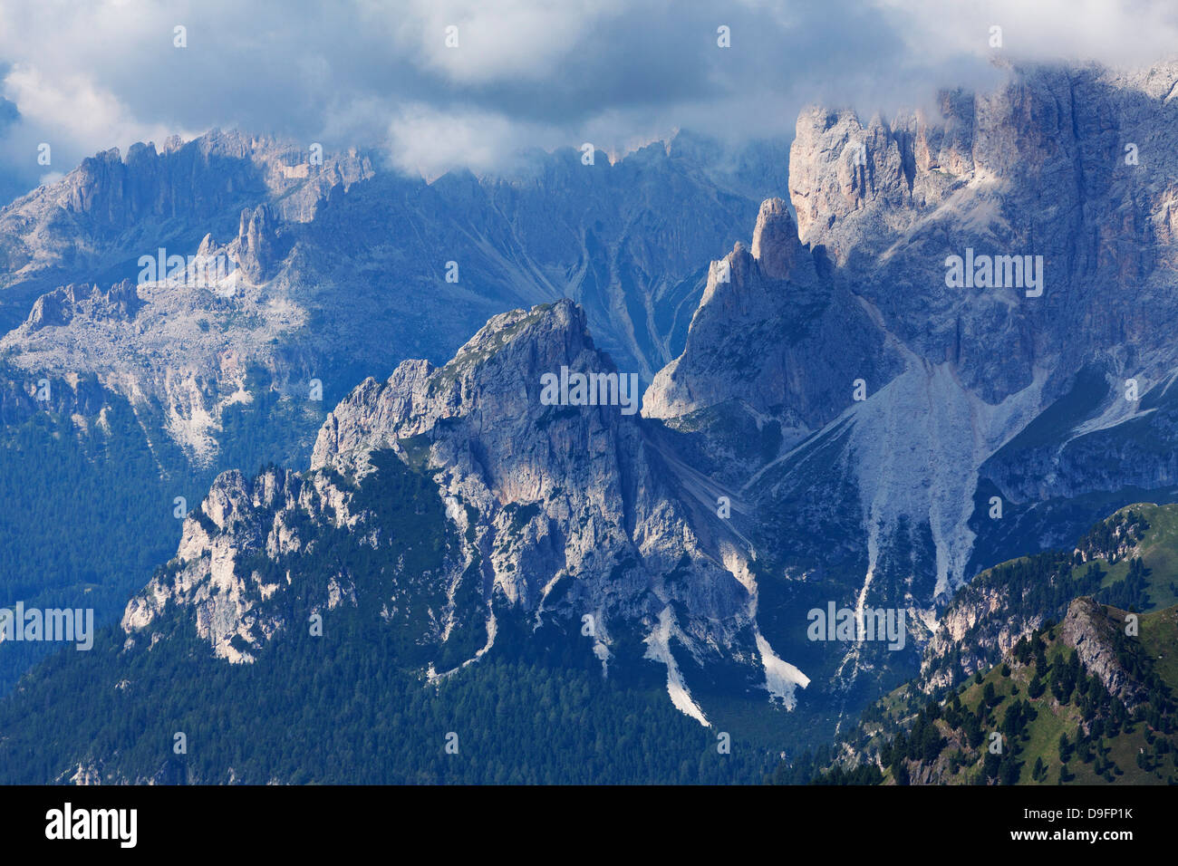 The rugged Rosengarten Peaks in the Dolomites near Canazei, Trentino-Alto Adige, Italy - Stock Image