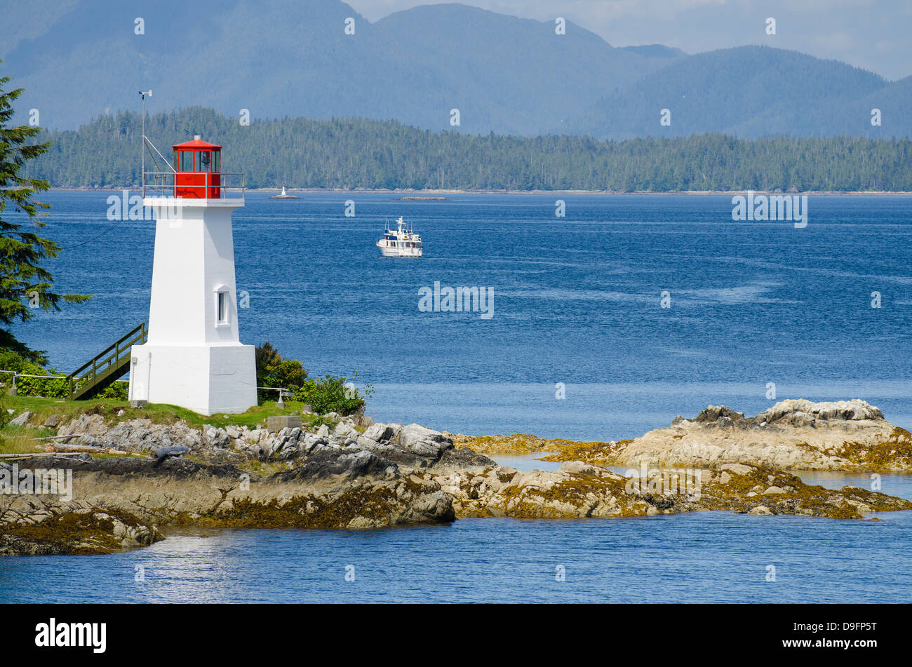 Dryad Point Lightstation, Bella Bella, Inside Passage, British Columbia, Canada - Stock Image